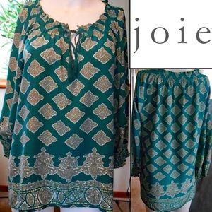 JOIE 100%-Silk drawstring keyhole smocked Top